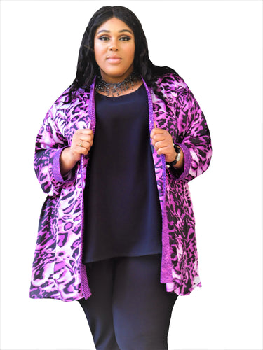 Silky Sequin Animal Print Jacket