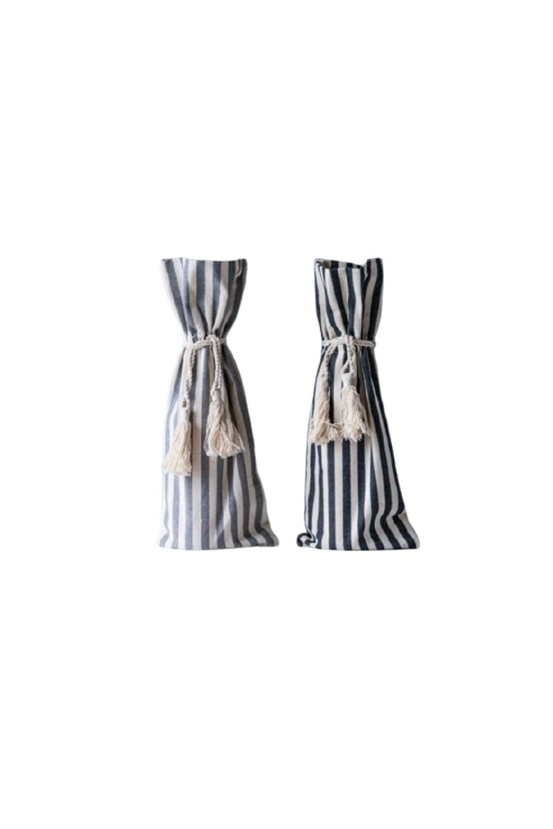Cotton Striped Drawstring Wine Bag + Tassles