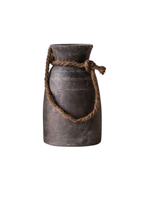 Decorative Wood Container with Rope