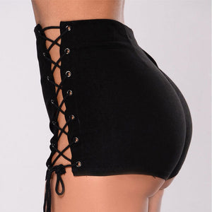 Mini Jeans Short Lace-Up Bottom Skinny Party Vintage