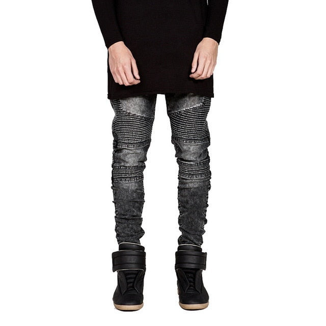 Denim Ripped Biker Jeans