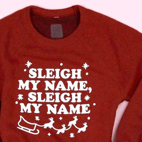 An image of the Saturday Morning Pancakes Sleigh My Name funny holiday sweater.