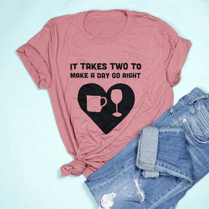 It Takes Two to Make A Day Go Right Adult Unisex Tee
