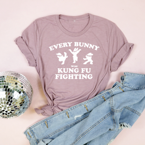 Every Bunny Was Kung Fu Fighting Adult Unisex Tri Blend Tee