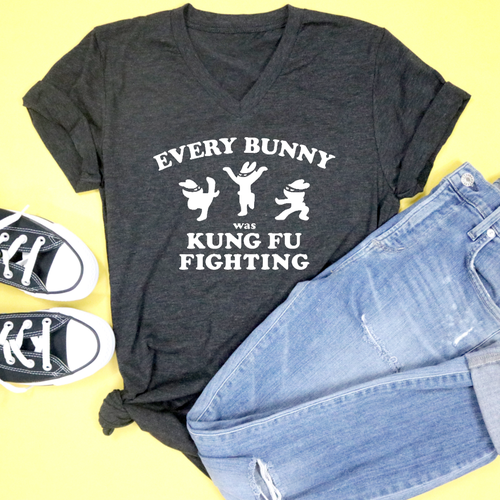 63911afdd Every Bunny Was Kung Fu Fighting Unisex Adult V-neck Tri Blend Tee –  Saturday Morning Pancakes