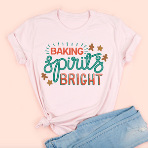 Baking Spirits Bright Adult Unisex Pink Tee