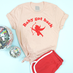 An image of the Baby Got Back Valentine's Day t-shirt from Saturday Morning Pancakes styled with shorts.