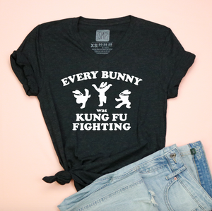 Every Bunny Was Kung Fu Fighting Unisex Adult V-neck Tee