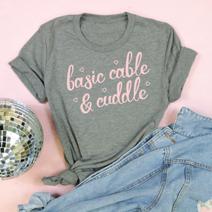 An image of the Basic Cable and Cuddle Valentine's Day t-shirt from Saturday Morning Pancakes.