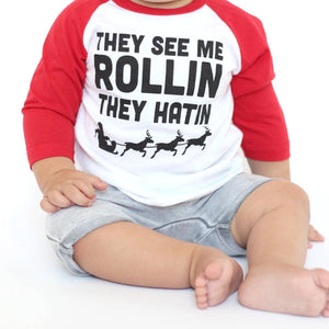 They See Me Rollin Christmas Kids Tee