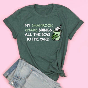 My Shamrock Shake Brings The Boys To The Yard Adult Tee