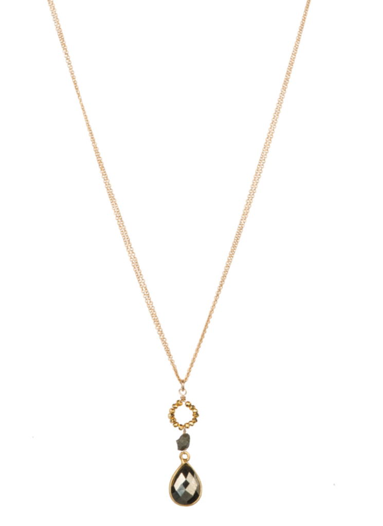 "Alexis Necklace-18""/14K GF/Pyrite"