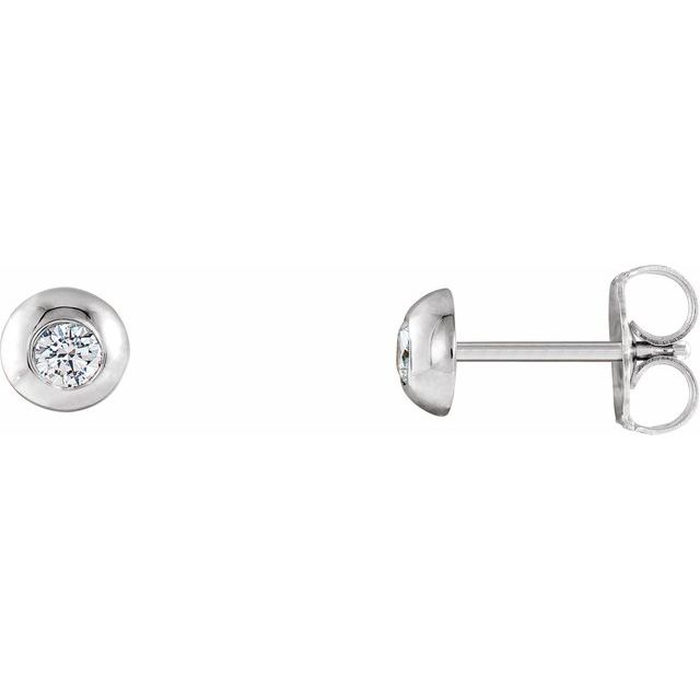 14K White 1/8 CTW Diamond Domed Stud Earrings