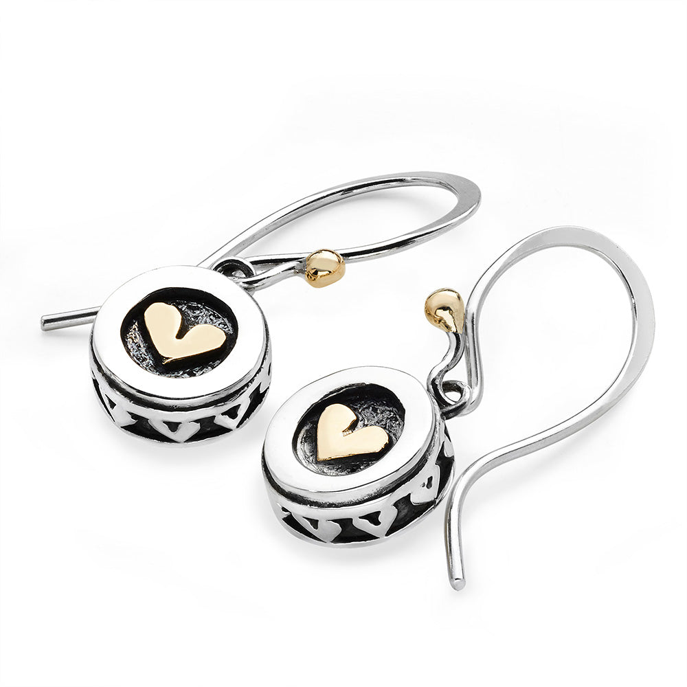 Heart Drum Drop Earrings