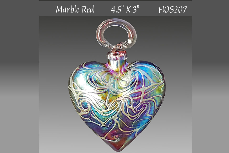 Heart Ornament: Small Red Marble