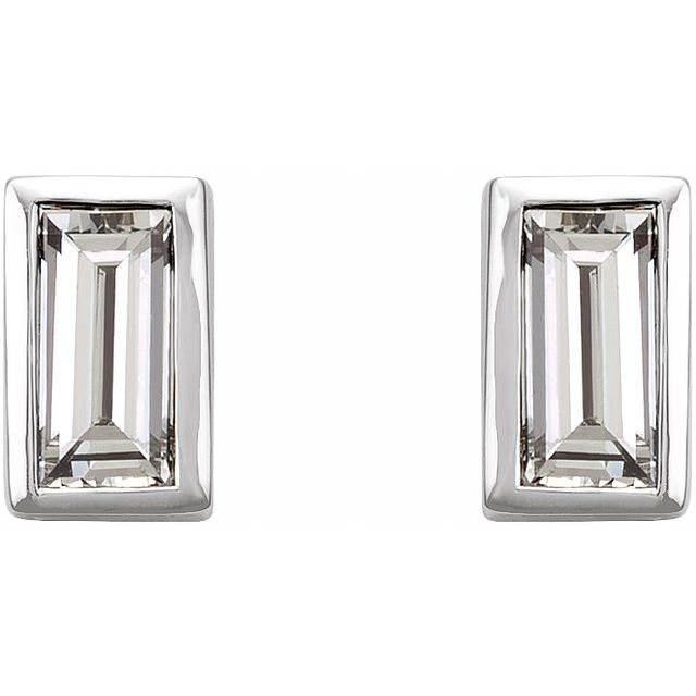 14KW/Diamond/Straight Baguette Bezel Set Earrings/.08CTW