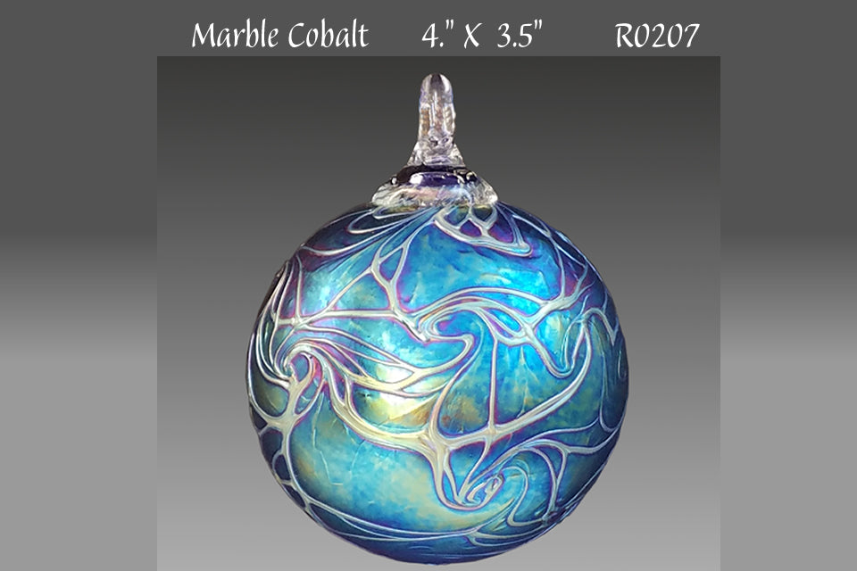 Round Ornament: Marble Cobalt