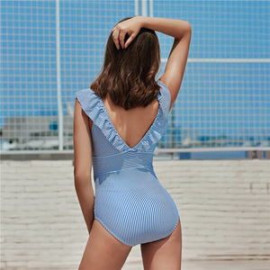 V Neck Swimsuit One Piece - High Waist