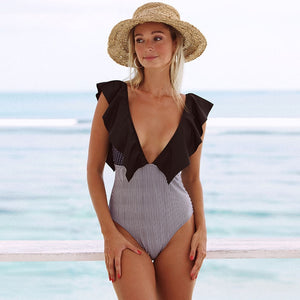 Black Shoulder Lace Deep V Swimsuit