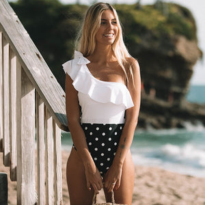One Shoulder Lace Swimsuit