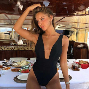 Deep V Neck Backless One Pieces