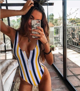 Backless Striped Swimsuit