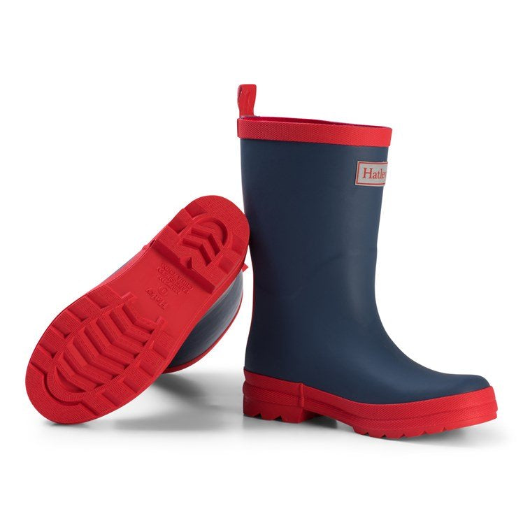 Hatley Navy And Red Wellingtons Rb0navy307