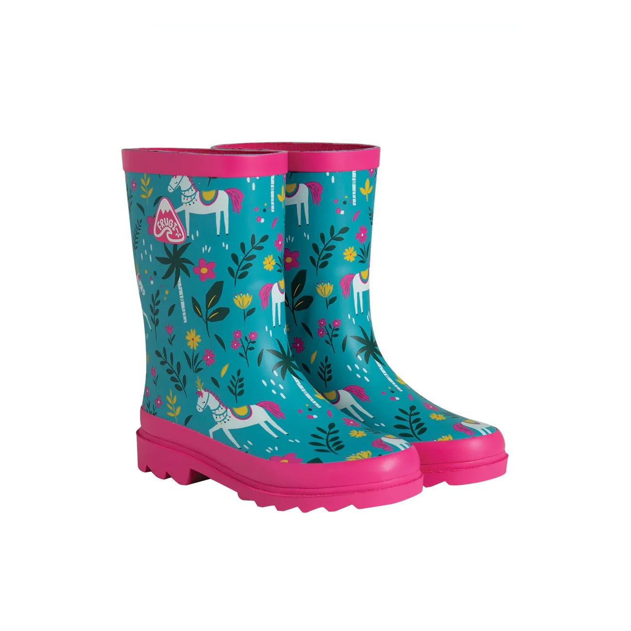 Frugi Teal Indian Horse Wellingtons
