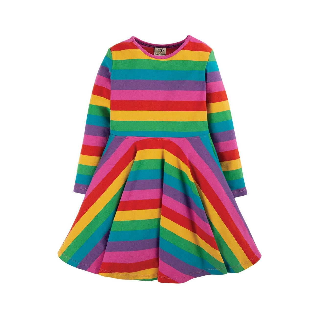 Frugi Infant Skater Dress Foxglove Stripe