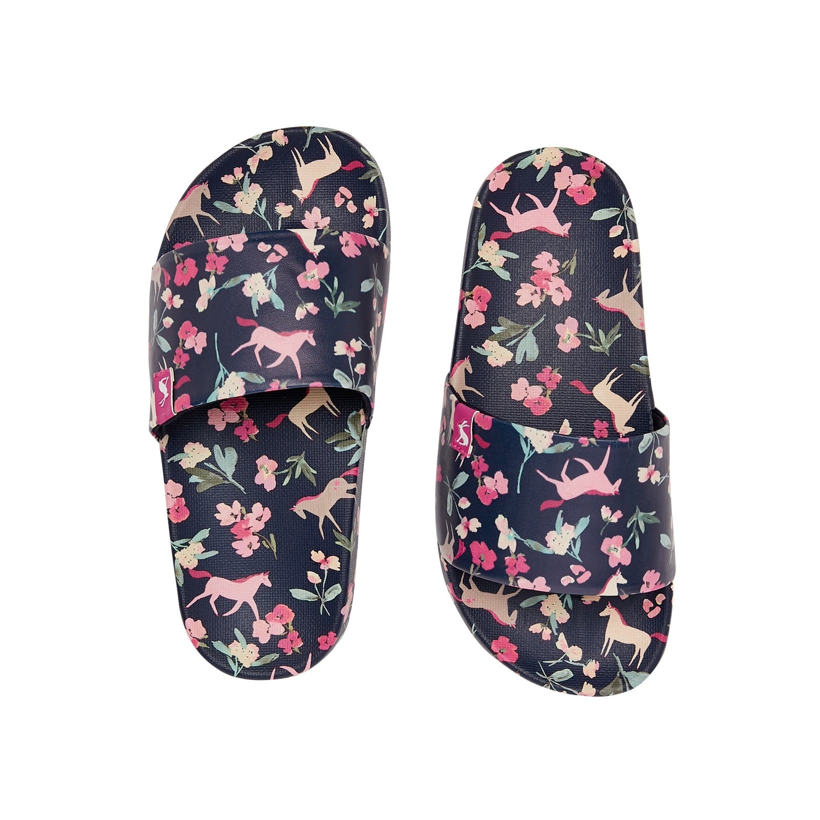 Joules Girls Unicorn Floral Sliders