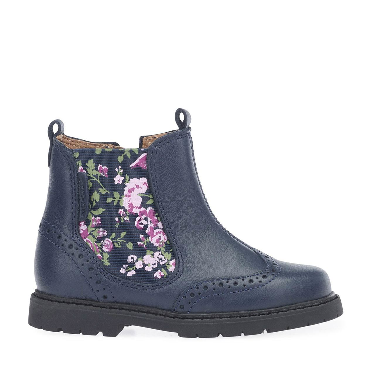 Startrite Girls Navy Floral Chelsea Boot