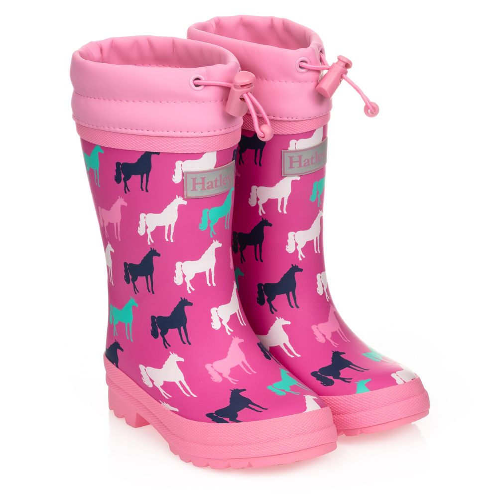Hatley Girls Sherpa Lined Rain Boots Pink Horses
