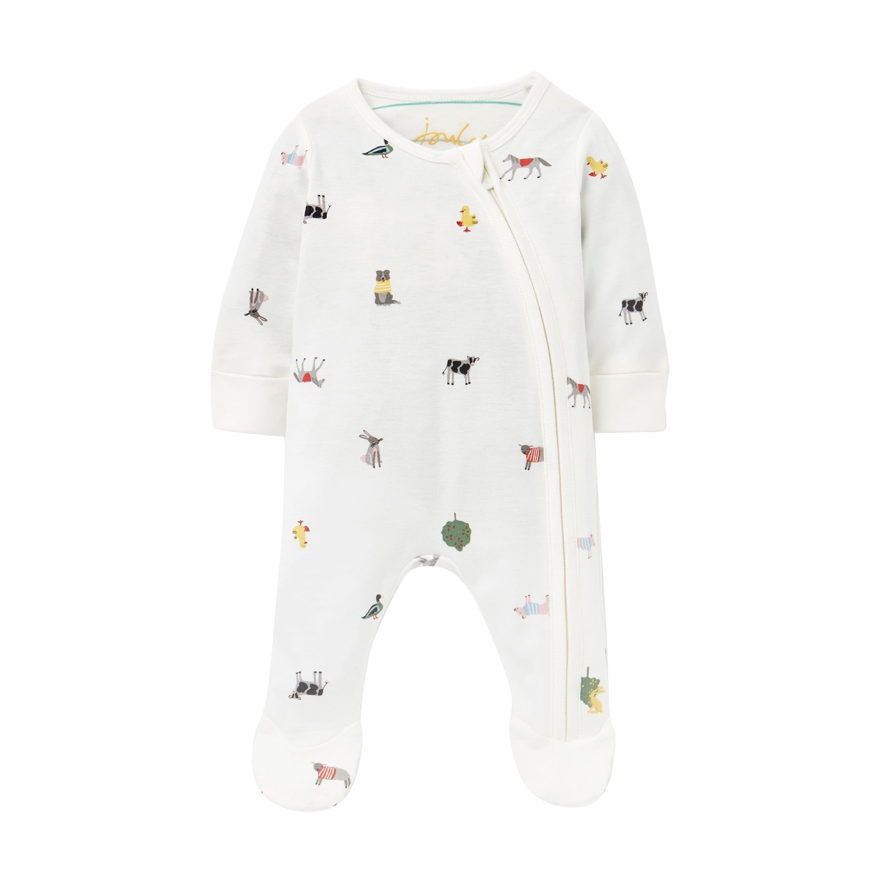 Joules Baby Zip Sleepsuit Farm 207538