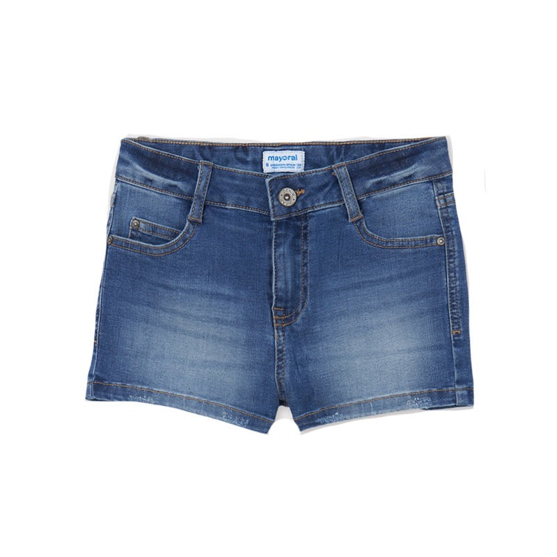 Mayoral Older Girls Denim Shorts 235 Mid Denim