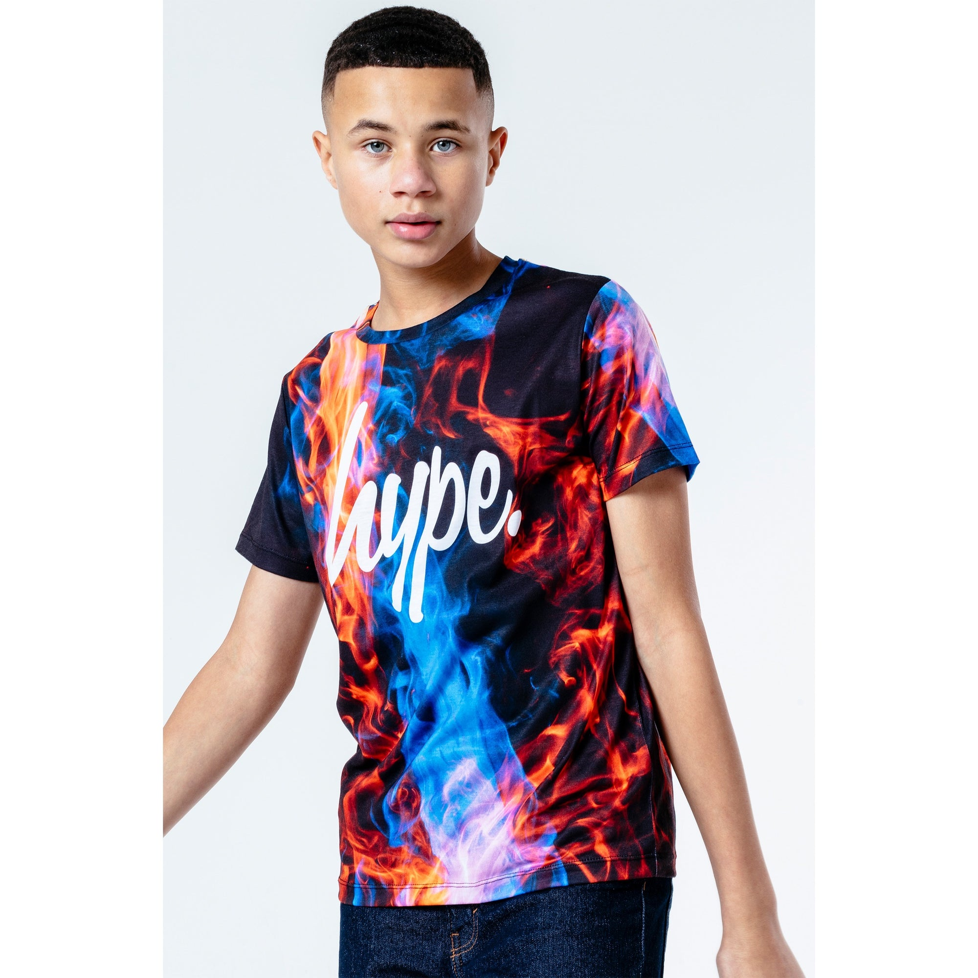 Hype Boys Cyan Fire T-Shirt Ywf306