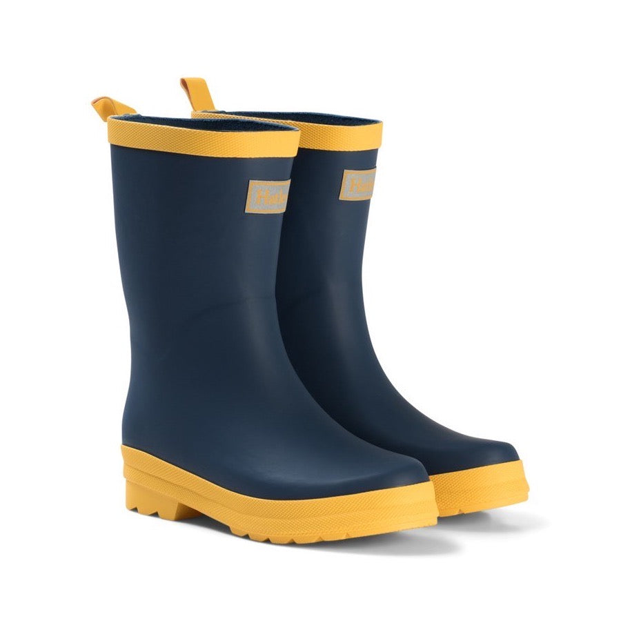 Hatley Navy Yellow Wellingtons Rb0navy346