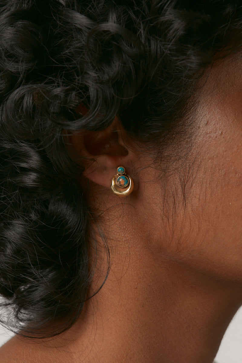 Gold Rising Moon Studs