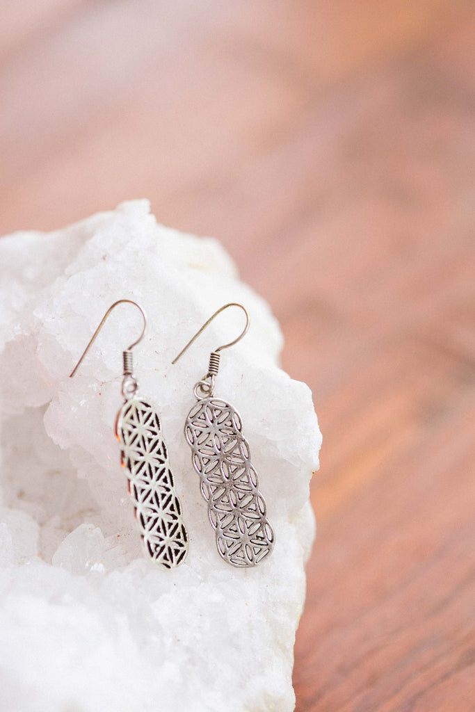 Silver Flower of Life Drop Earrings