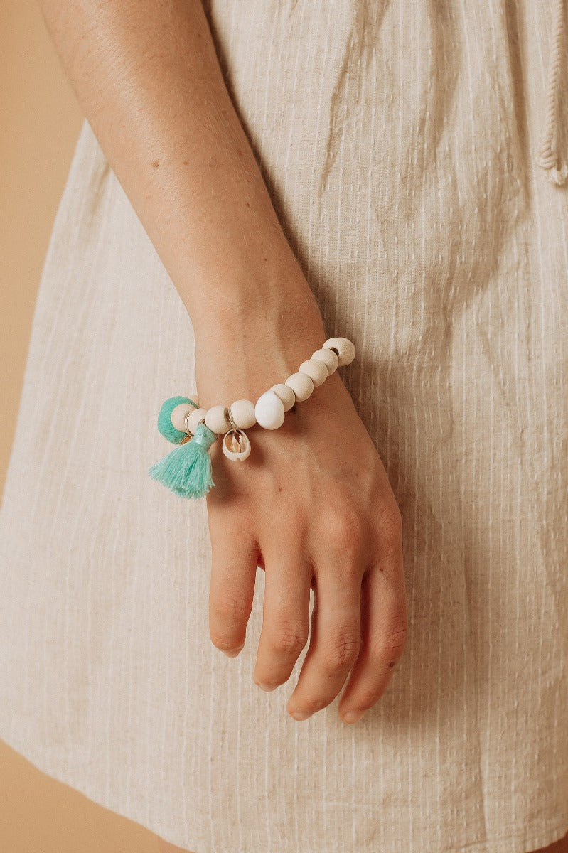 BF83 Bead Stretch Bracelet with Tassel/Pom Pom