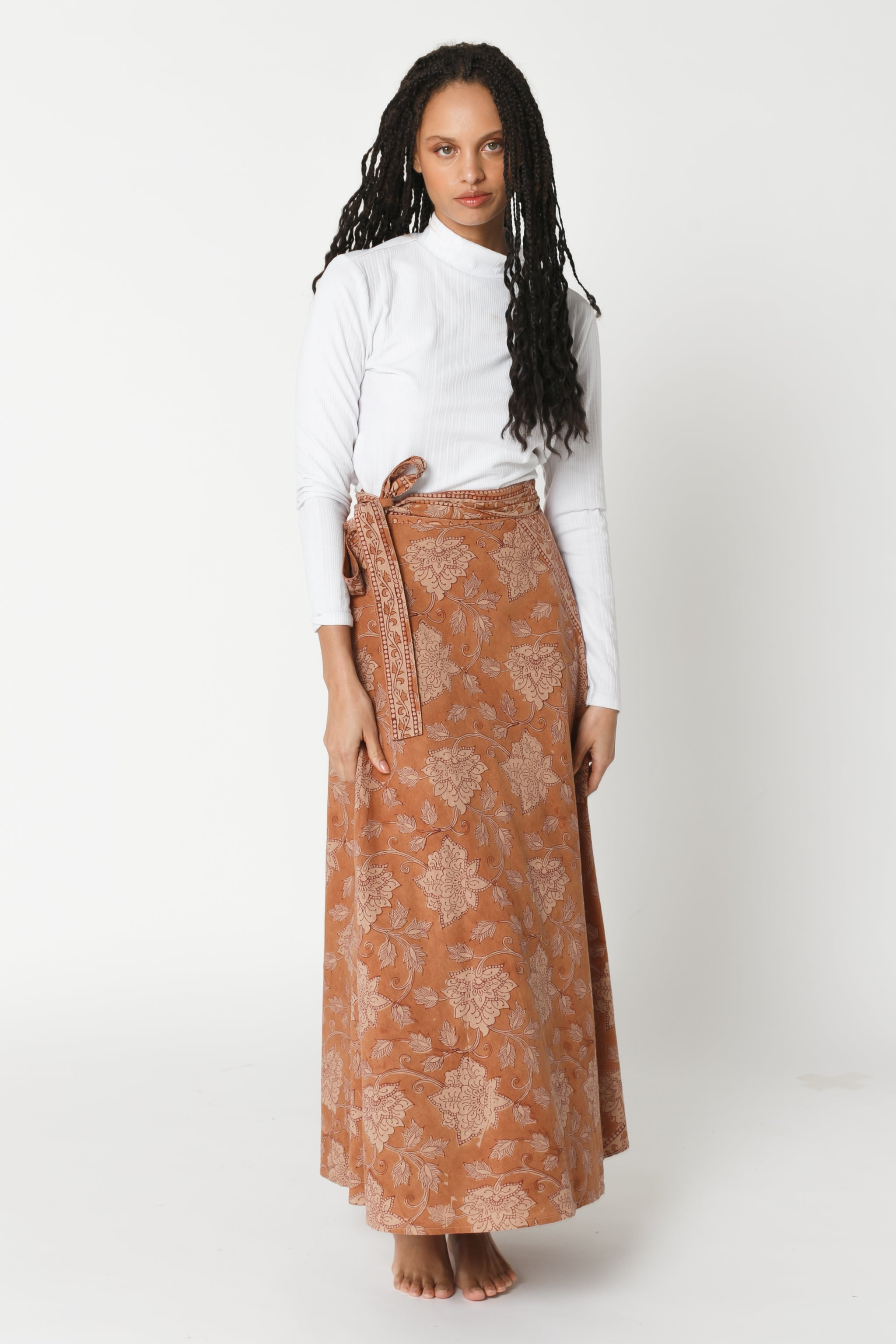 Hand Block Wrap Skirt