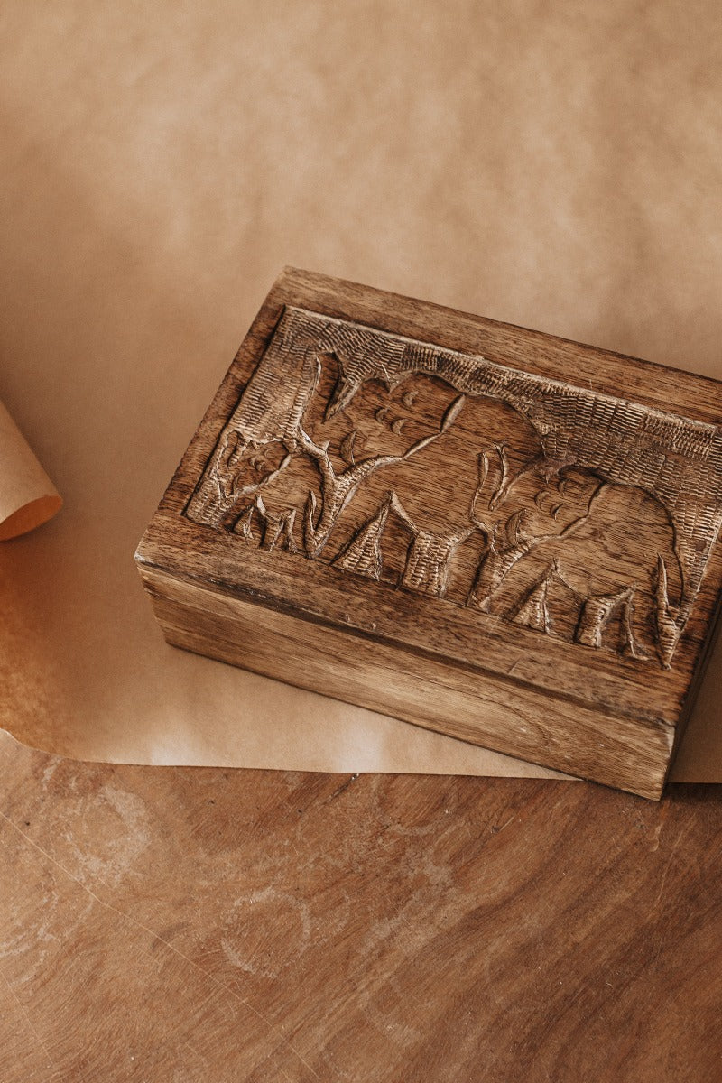 Elephant Family Wooden Box