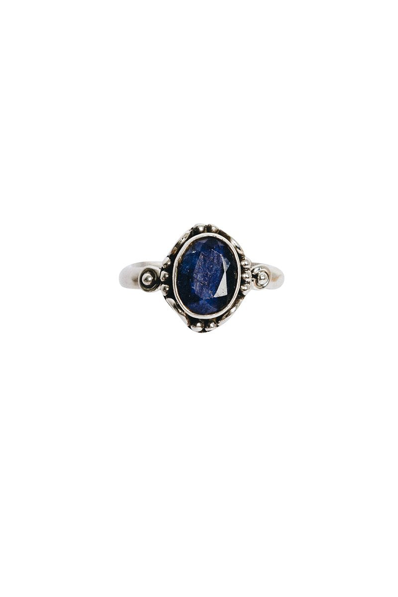 Oval Stone Ring on Ornate Base