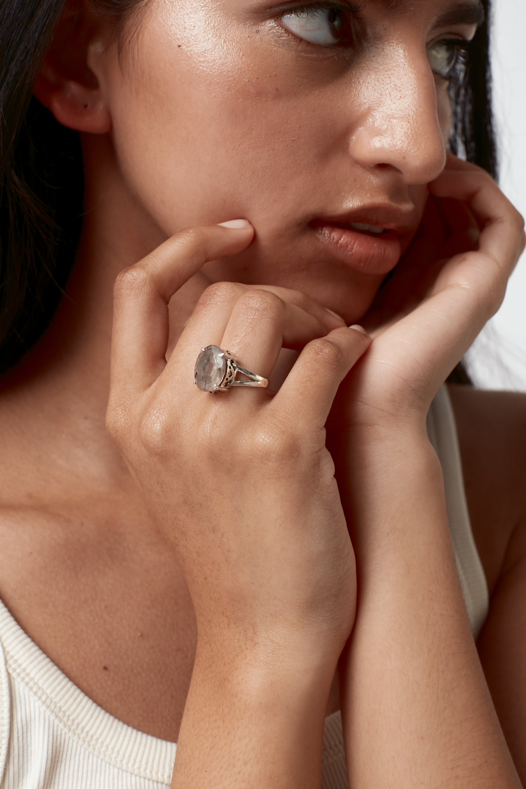 Faceted Raised Oval Stone Ring