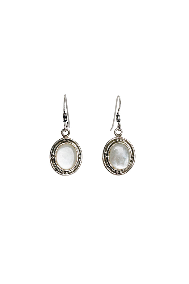 Round Oval Stone Set in Oxidised Base Earrings