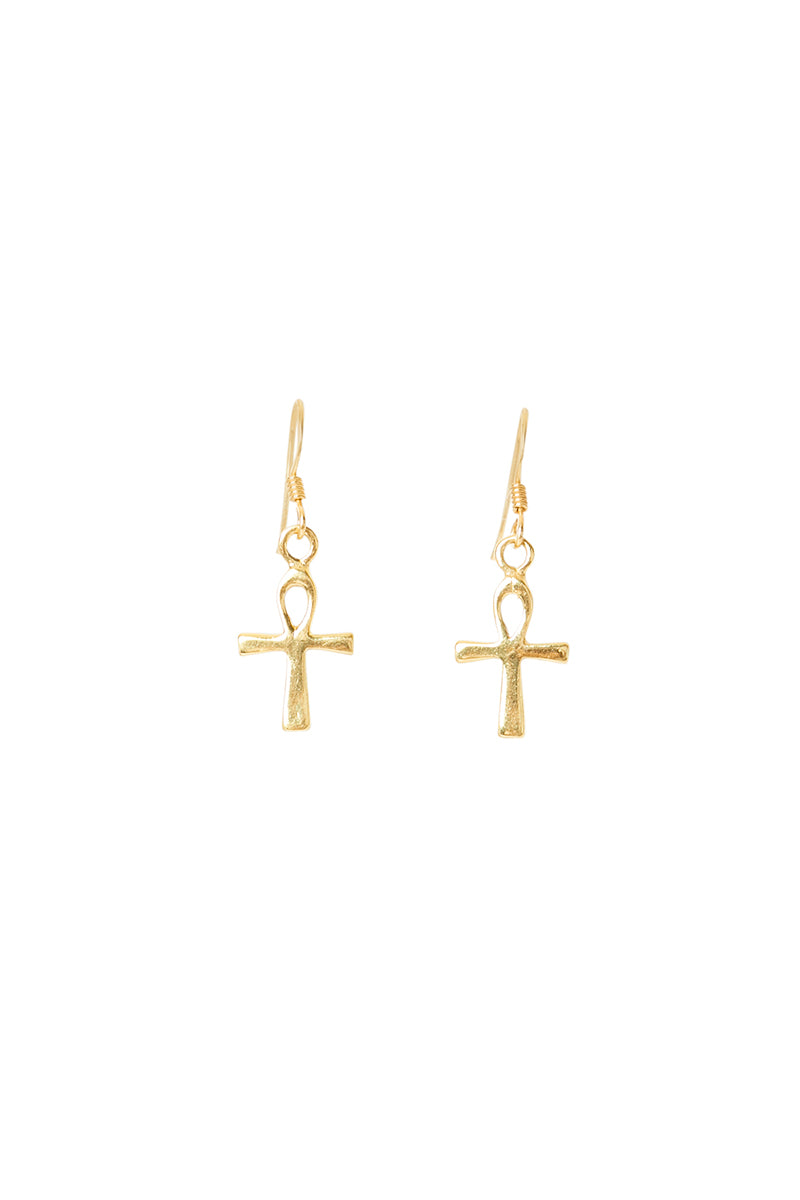 Gold Ankh Earrings