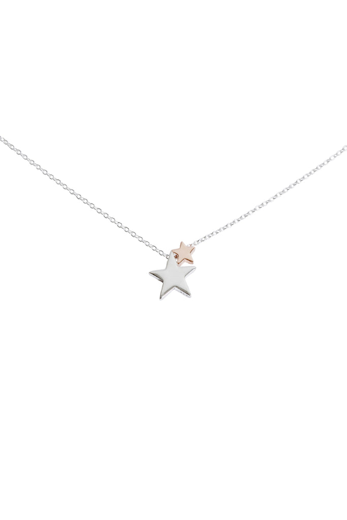 Silver and Rose Gold Star Necklace