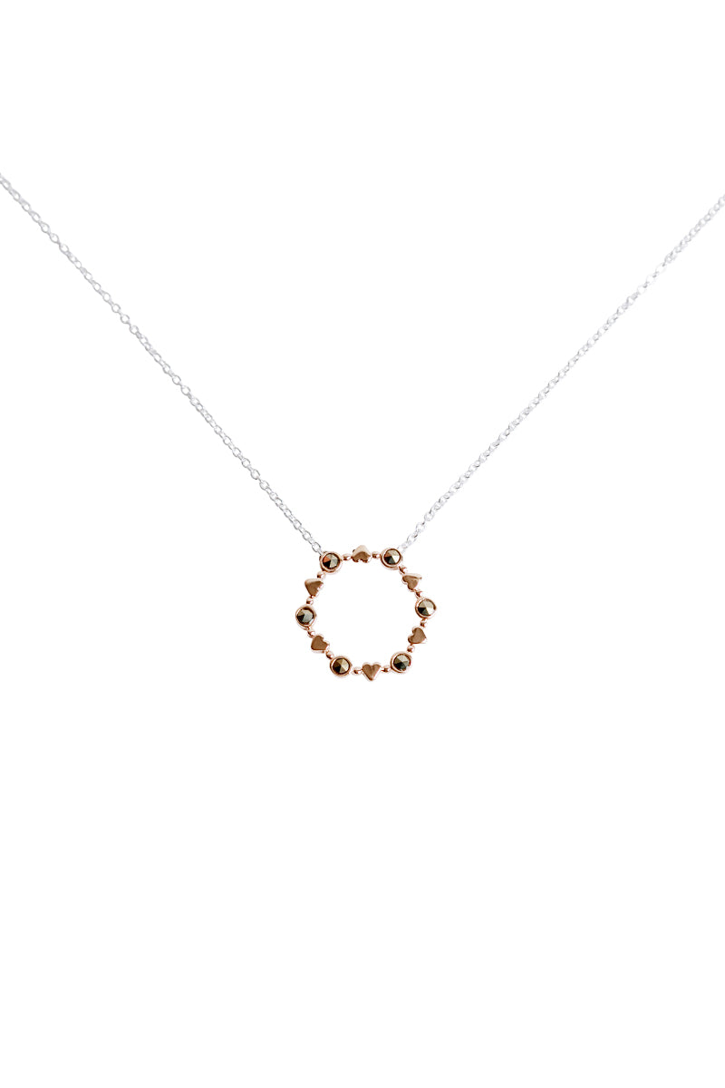 Round Rose Gold Hearts Necklace