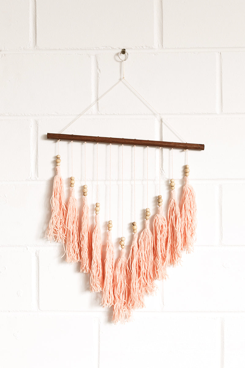 Coral Tassel Wall Hanging