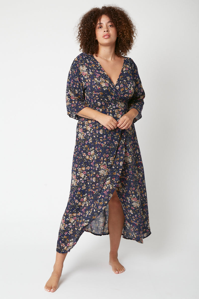 French Rose Wrap Dress (Free Size)