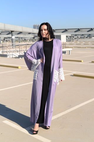 Love and Lace: Purple Kimono Abaya